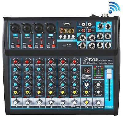 Pyle Professional Audio Mixer Sound Board Console - Desk System Interface with 8