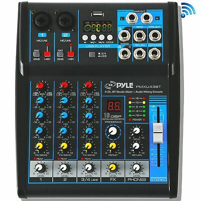 Pyle Professional Audio Mixer Sound Board Console System Interface 4 Channel Dig