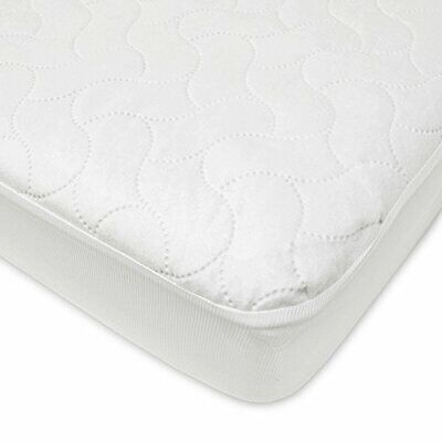 Toddler Mattress Pad Cover Waterproof Fitted Crib Baby Bedding Girls Boys White