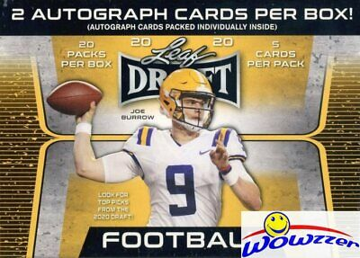 2020 Leaf Draft Football HUGE Factory Sealed 20 Pack Blaster Box-2 AUTOGRAPHS