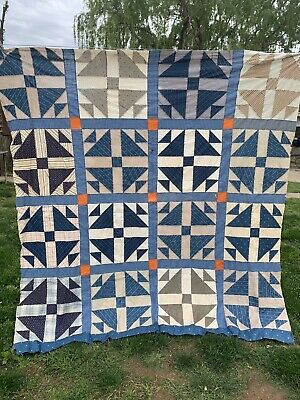Vintage Hand Pieced Early Calicos Grandma's Choice Pattern Quilt Top Set In Blue
