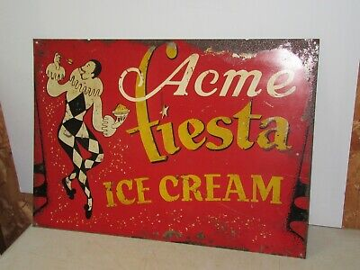 Vintage Acme Fiesta Painted Metal Advertising Double sided Ice Cream Sign