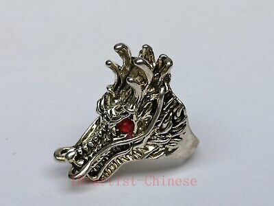 Collection Old China Tibet Silver Handicrafts Dragon Head Ring Decoration Gift