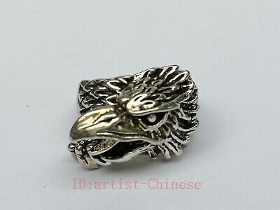 Collection Old China Tibet Silver Handicrafts Eagle Head Ring Decoration Gift