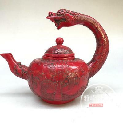 Chinese old Decoration Carving Dragon Red Coral teapot Kung Fu Tea Set