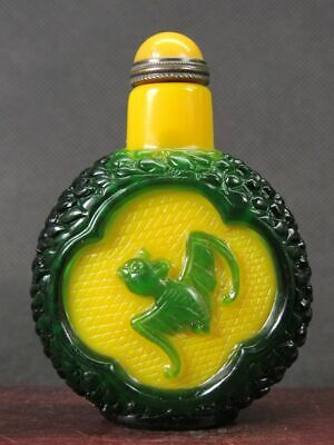 Chinese Two Bat Carved Peking Overlay Glass Snuff Bottle