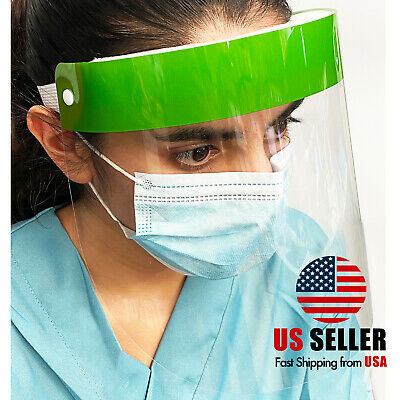 Green Safety Full Face Shield Reusable Washable Protection Face Mask Anti-Splash