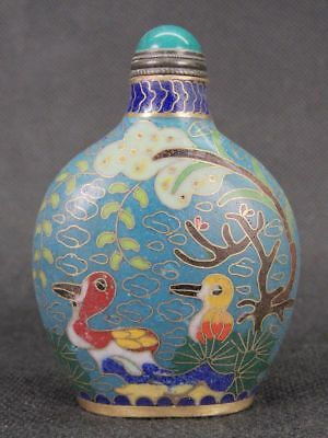 Chinese Duck Pattern Handiwork Cloisonne Snuff Bottle