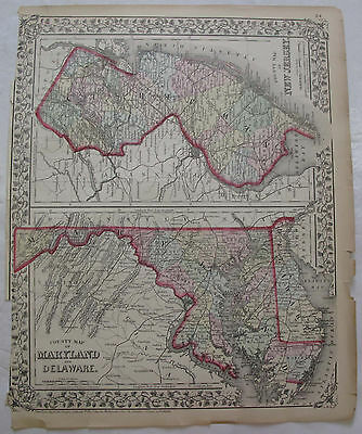 Hand Colored Map Maryland Delaware New Jersey Baltimore Trenton Mitchells 1872
