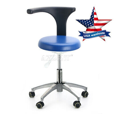 Dental Medical Doctor Assistant Stool Mobile Chair Adjustable Blue PU Leather