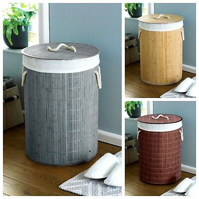 Eco Friendly Natural Bamboo Round Laundry Washing Basket Folding Clothes Hamper