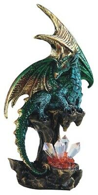 Green Dragon on Stone with Crystals Medieval Fantasy Figurine Statue Decoration
