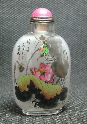Chinese Glass Inside-drawing Lotus flower And Kingfisher Snuff Bottle//--