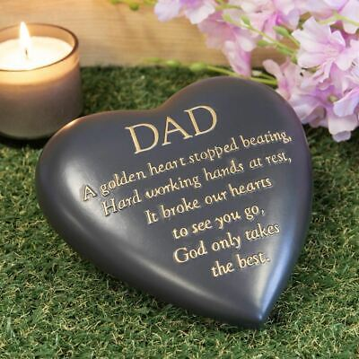 Thoughts Of You Dad Graveside Heart Memorial Plaque | Grave Stone | Remembrance