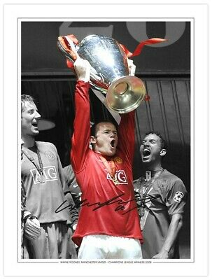 MU 028 - HAND SIGNED 16x12 PHOTO EDITION MAN UNITED 2008 WAYNE ROONEY