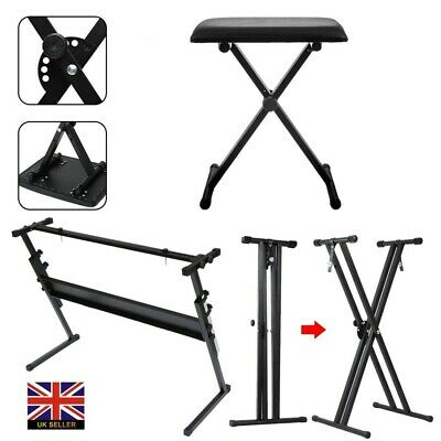 Folding Piano Keyboard Stand and Stool - X Frame Stand & Bench Adjustable Black