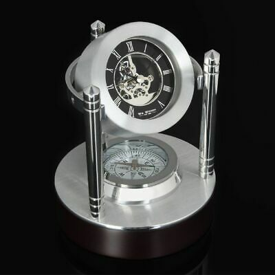 William Widdop Contemporary Mantel Clock Mini Skeleton with Compass, Luxury Gift