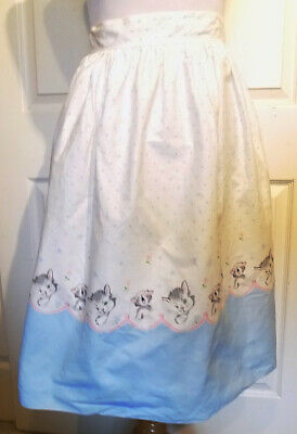 Vintage Half Apron Sleeping Kittens Cats Cotton
