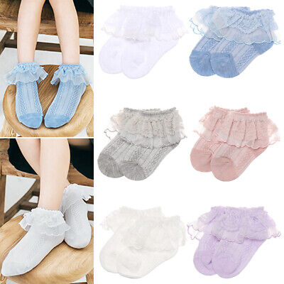 Cotton Dance Stockings Baby Girls Leggings Lace Tutu Sock Ruffle Frilly Socks