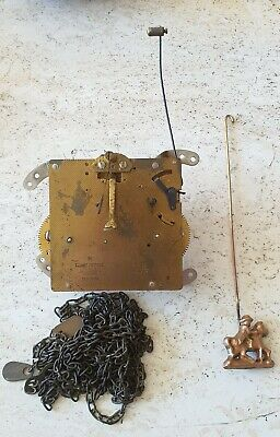 Hermle 1978 Clock Movement With Hands, Pendulum, Weights & Chains Working Vintag