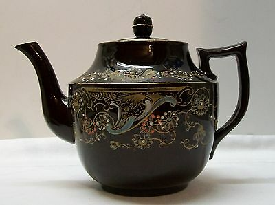 Gibson and Sons Brown with Designs Tall Kew Teapot Burslem England Vintage