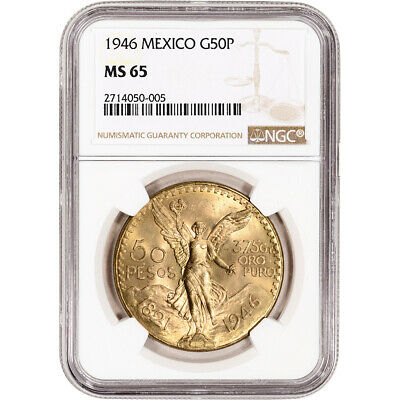 1946 Mexico Gold 50 Pesos - NGC MS65 KM-481