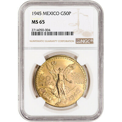 1945 Mexico Gold 50 Pesos - NGC MS65 KM-481