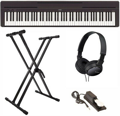 Yamaha P-45B Digital Piano with Double X-Stand, Sustain Pedal, and Headphones