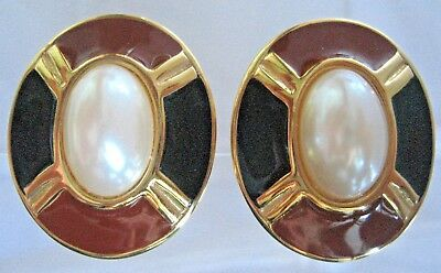 Erwin Pearl Gold Tone Brown Enamel Faux Pearls Earrings Clip Ons