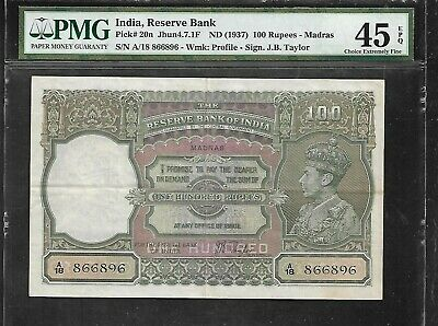 INDIA - Old 100 Rupee Note (1937)  P20n - PMG XF45 EPQ