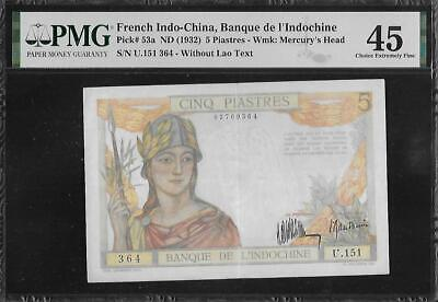French Indochina P-53a 5 Piastres 1932 PMG 45