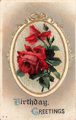 Pretty Red Roses on Old Birthday Postcard - C 2