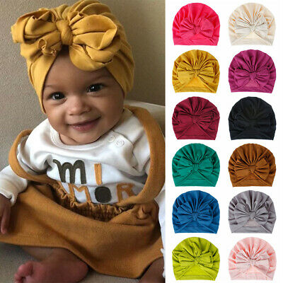 Cotton Soft Bowknot Baby Turban Hat Head Wraps Infant Beanies Knot Headband