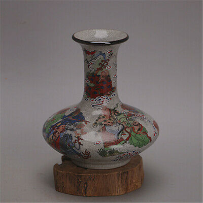 China old porcelain famille rose 18 Arhat Flat Bottle Cracked glaze vase