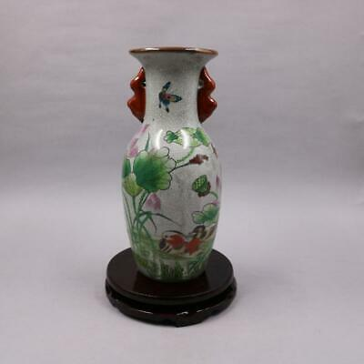 Chinese old porcelain Crack Glazed Mandarin duck lotus Painting Double ear Vase