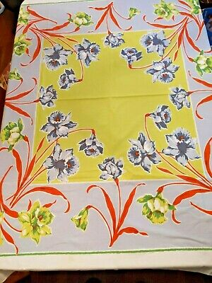 Tablecloth Green Yellow Flowers Red Stems White Border Vintage 1950s Rectangle