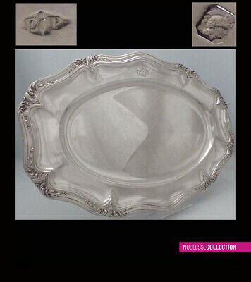 PUIFORCAT ANTIQUE 1880s FRENCH STERLING SILVER TRAY DISH Louis XV st 1073g 16in.