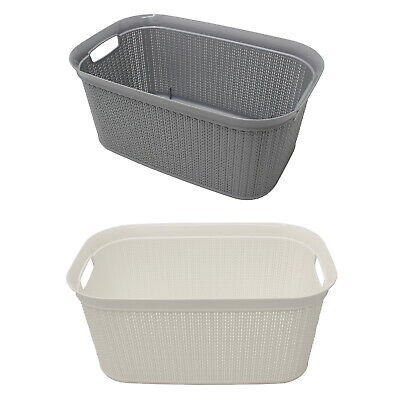38L Loop Rectangular Carry Laundry Basket Durable Plastic Washing Clothes Hamper