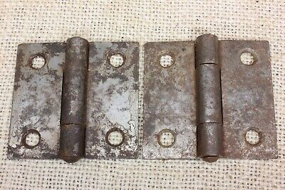 "2 old Cabinet Door Hinges Butts rusty rustic steel 2 x 2"" vintage fixed pin"
