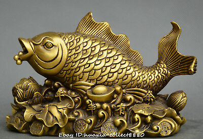 Chinese fengshui old bronze lotus flower fish yuanbao money coin wealth statue