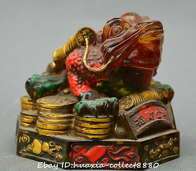 Chinese old coloured glaze hand carve Fortune golden toad money wealth statue