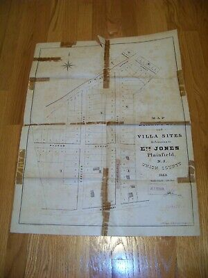 1868 Map Plainfield NJ Evan Jones J. R. Dunham James S. Vosseller Sauerwein