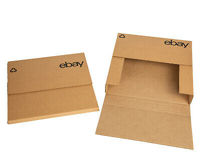 "eBay-Branded Boxes With Black Color Logo 12.5""x12.5"" Flat Adjustable"
