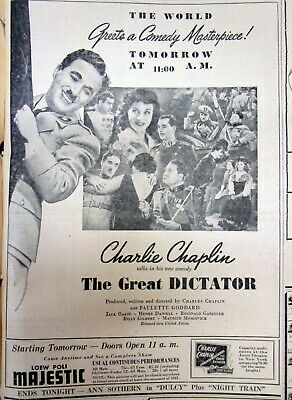 1940 newspaper w illust ad for CHARLIE CHAPLIN movie premiere THE GREAT DICTATOR