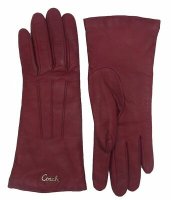 COACH Woman's Crimson Red Leather Cashmere Lined Logo Winter Wrist Gloves F82835