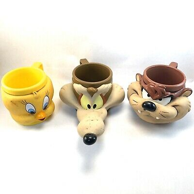 3 VTG Looney Tunes: Tweety, Taz, Wile E. Coyote 3D Face Mugs w/ FREE SHIPPING
