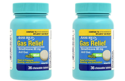 2-PK Assured Simethicone Gas Relief Chewable Tablets 80mg Anti-Gas Bloating 36CT