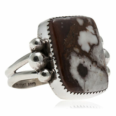 $100Tag Silver Navajo Certified Natural Gaspeite Native Ring Size 6 1//2 24500-5 Made by Loma Siiva