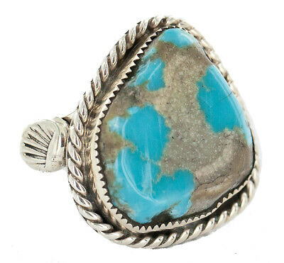 $500Tag Certified Silver Navajo Natural Turquoise Native American Ring 18221-2 Made by Loma Siiva