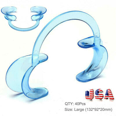 40PC Clear Dental Teeth Whitening Cheek Retractor Mouth Opener C Type Large Size